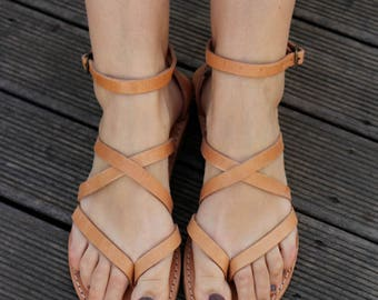 Gladiator Leather Sandals, Full Grain Leather Women Sandals -Natural color