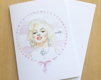 Marilyn Monroe Watercolor Portrait Greeting Card 5x7