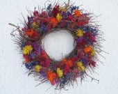 bright colors dried flower and twig wreath/very colorful dried flower and twig wreath/dried flower wreath/twig wreath/curly twiggy wreath