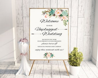 Mint Unplugged Wedding Sign Unplugged Ceremony Sign Boho Wedding Sign No Cell Phones Sign No Cameras Sign Printable Wedding Decoration