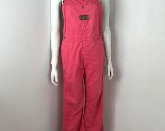 vtg 80s coral pink cotton bell bottom jumpsuit overalls