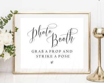 Photo Booth sign printable, grab a prop strike a pose, wedding photo booth sign, instant download printable, wedding photobooth,  #PPSB52