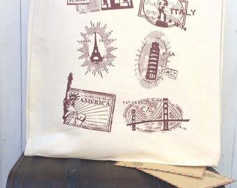 Hand Screen Printed Travel Stamp Design Cotton Canvas Tote Bag Shoulder Bag Beach Bag Grocery Bag Travel Bag Natural Reusable