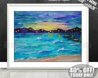 Abstract Seascape | Beach Watercolor Art | Seascape Beach Decor | Ocean Coastal Art | Watercolor Beach Art | Seascape Decor | Beach Ideas