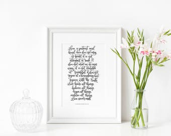 Love is Patient | Wedding Present | Engagement Gift | Wall Art | Print | Christian Gifts | Make Today Beautiful