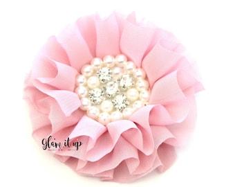 Chiffon Flowers-Pearl chiffon flowers-ruffle chiffon flowers-3.5 in flowers-headband flowers-flowers for headbands-diy headband-Dusty rose