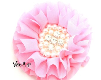 Chiffon Flowers-Pearl chiffon flowers-ruffle chiffon flowers-3.5 in flowers-headband flowers-flowers for headbands-diy headband-pink