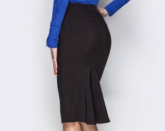 Classic skirt women Black skirt folds Women skirt office Midi skirt folds Occasion skirt black Office clothing everyday
