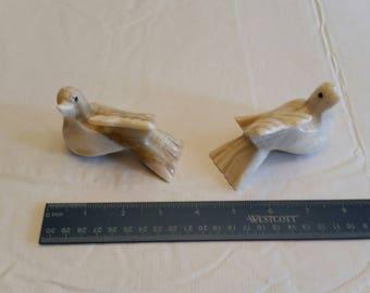 vintage alabaster stone carved dove / birds - marble sculpture figures figurines knick knacks - rocks statues pair set art studio antique