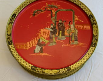 vintage chinese oriental pictures on signed metal tin sunshine biscuit box - 2 sided art photos asian men women serving storage tray cookie