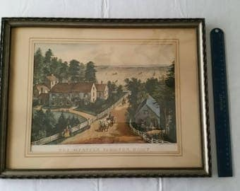 "antique framed currier & ives art litho print "" the western farmers home "" 1952 wall hanging picture photo frame vintage americana horses"
