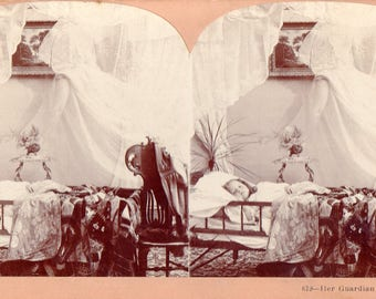1898 Guardian Angel Watching Over Little Girl Stereoview Photo