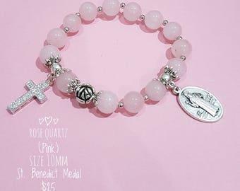 Rose Quartz Rosary Bracelet with St. Benedict Medal