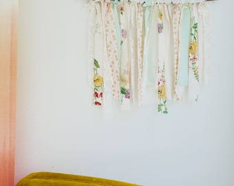 Fabric Wall Banner Floral Wall Banner  Nursery Wall Banner Wooden Wall  Banner