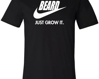 Beard Just Grow It Cool Men's T-Shirt Black Short Sleeve Graphic Tee