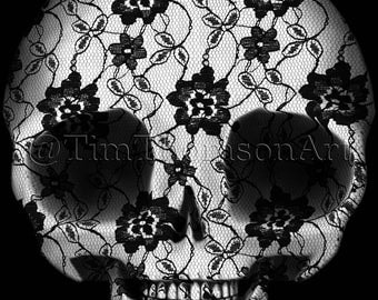 ACEO Print of the #DeadPullipSociety Lace Skull - collectible art card giclee reproduction