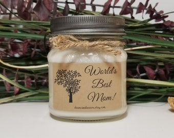 World's Best Mom Candle - 8oz Soy Candles Handmade - Personalized Candles - Birthday Gift for Mom - Mother's Day Gift - Mason Jar Candle