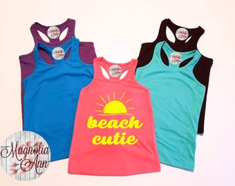 Beach Cutie, Baby, Toddler, Little Girls Racerback Tank Top in 6 Colors in Sizes 6 Months - Little Girls Size 6X