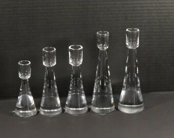 5 Signed Orrefors Crystal Graduated Candlesticks Designed by Sven Palmqvist from Sweden