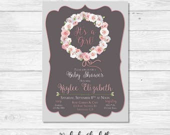 Floral Baby Shower Invitation, Pink Baby Shower Invitation, Rose Baby Shower Invite, It's a Girl Invitation, *DIGITAL FILE*