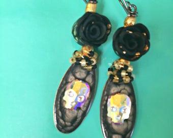 The Black Rose of Skull Island - Wire Wrap Dangle Earrings