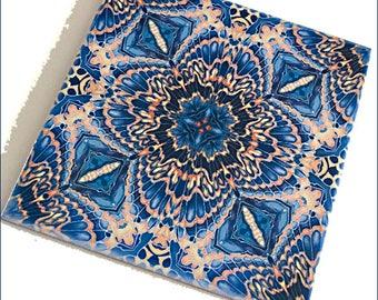 Moth Wings Ceramic Tile - Kaleidoscope Tile Art in Orange Grey & Black - Bathroom or Kitchen Wall Tile - Tableware Tile Trivet or Coaster