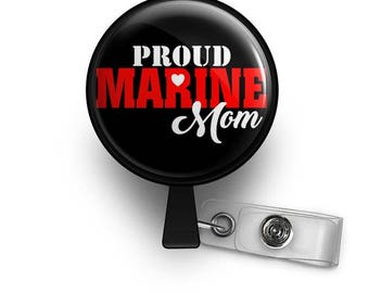 Proud Marine Mom Retractable ID Badge Reel