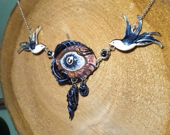 Blue birds holding up an eyeball pendant with a tendril design, and blue & black tears. Hand sculpted and painted pendant.