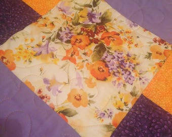 Pansy Watercolor Quilt, Pansy Quilt, Colorful Quilt, Pansy Quilt Bedspread
