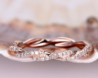 Infinity Ring Twist Wedding Band Diamond Wedding Band 14k Rose Gold FULL Eternity Band Stacking Matching Band Anniversary Ring Twist Ring