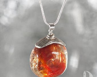 Christmas in July Mermaid house necklace Little Tiny house Red Scarlet Crimson Sangria Siren pendant Hand blown glass jewelry Ocean necklace
