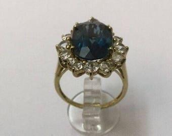 9ct Gold & Blue Paste-Stone Ring - Hallmarked - Size 7 (UK O)