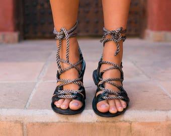 Gladiator sandals, leather sandals, tie up sandals, summer sandals, boho sandals, cruise, resort