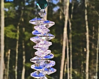 "Gratitude 40 mm Crystal Ball Suncatcher, Swarovski Crystal, Hanging Crystal, Feng Shui, Rainbow Maker, Window Crystal, Prism, ""Gratitude"""