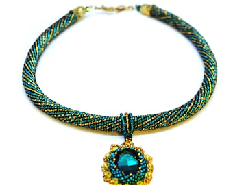 Emerald Necklace With Pendant Necklace Beaded Crochet Beadwork Necklace Modern Jewelry Short Emerald Necklace With Yellow Gift For Women