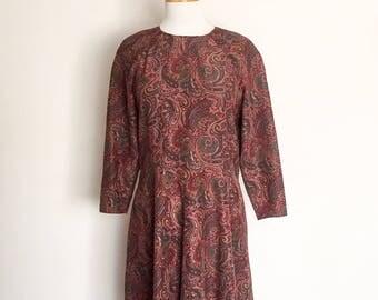 1970s Brown Paisley Long Sleeved Dress Vintage