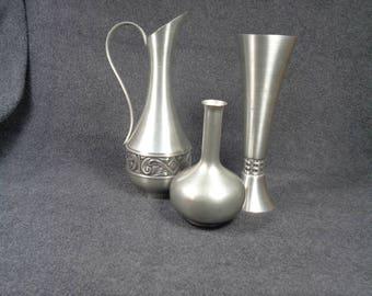 Set of Three Vintage Pewter, Royal Holland Pewter Vase,  Mastad Norway Pewter Vase,  Norway Pewter Pitcher, Silver Metal Metallic Accent