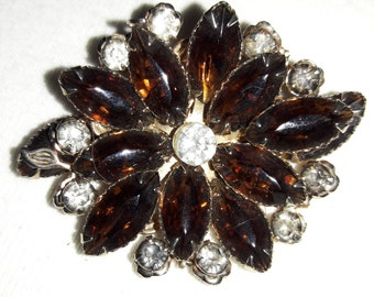 Topez and Clear Rhinestone Vintage Pin Brooch
