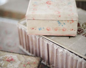 Gorgeous square antique French fabric box