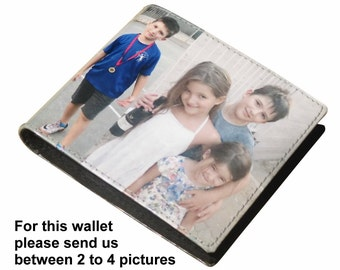 Extra LARGE custom wallet for men with your pictures on it - FREE SHIPPING - customized name initials wallets purse father's daddy gifts