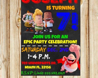 Captain Underpants Birthday Invitation