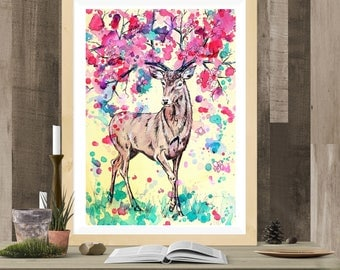 Fantasy Stag Art Print - Spring Stag A3