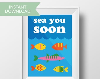 Under the sea boy nursery decor, printable art, boy room decor, wall print, no gender printable, printable poster, nursery wall art