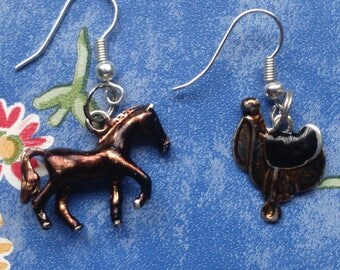 Horse and Saddle Charm Earrings- dangle earrings, horse-lover, mismatch earrings, pony, donkey, mule, stallion, foal