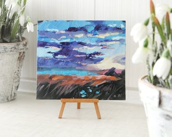 Small Oil Painting, Landscape Oil Painting, Square Abstract Oil Painting, Blue Landscape Painting, Sunset Painting, Gift For Her, Original