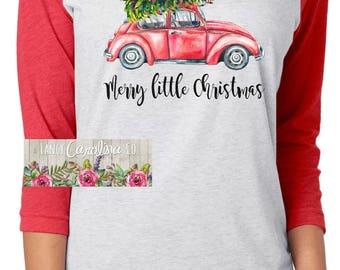 Vintage Christmas Shirt - Christmas Tree Shirt - Christmas Tree Car Shirt - Christmas Tree Truck Shirt - Merry Little Christmas Shirt