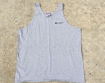 90s Style Champion Athletic Gray Embroidered Gym Workout Beach Tank Top - Large