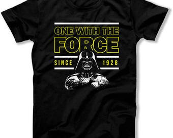 90th Birthday Gifts For Him Nerd T Shirt Geek Clothing Bday Present Custom TShirt One With The Force Since 1928 Birthday Mens Tee DAT-1367