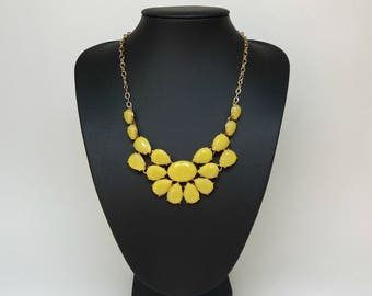 Total yellow Bib statement elegant romantic flower necklace,Yellow necklace,Short necklace,modern necklace,gift for her,party necklace