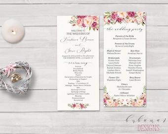 Floral Wedding Program Boho Digital Pink Peony Tea Long Program Printable Floral Wedding Ceremony Tower Bohemian Reception Card - WS014